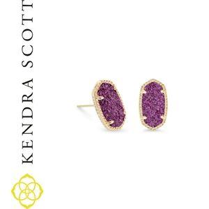 Ellie Gold Earrings Amethyst Drusy   Kendra Scott